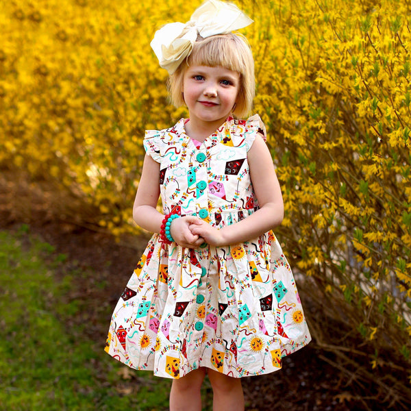 Girls Dress - Go Fly A Kite Glen Park Vintage Kite Dress