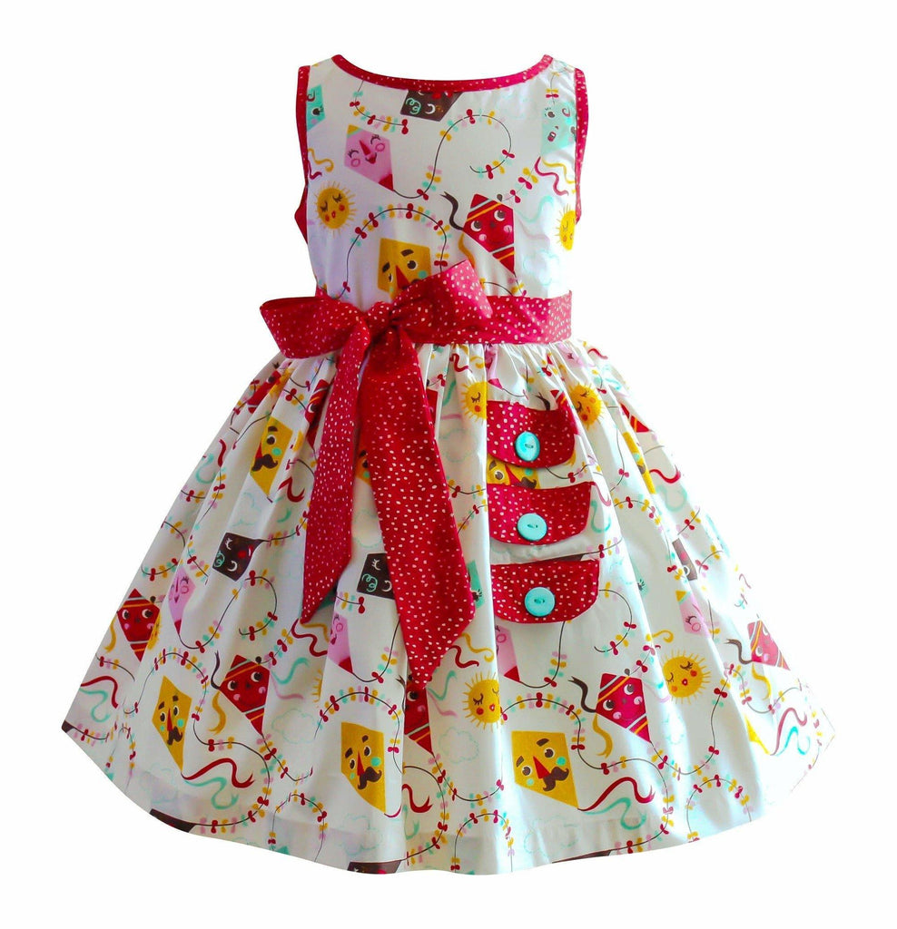 Girls Dress - Go Fly A Kite Maiden Lane Vintage Kite Dress