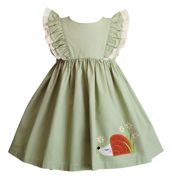 Girls Dress - Hazel The Hedgehog Pistachio Minnie Pinnie Dress