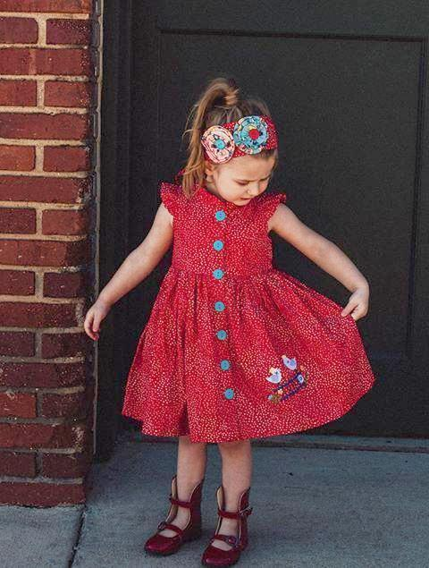 Girls Dress - Joy Ride Red Glen Park Dress