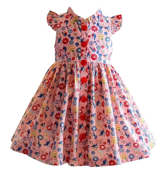 Girls Dress - Joy Ride Retro Pink Glen Park Dress
