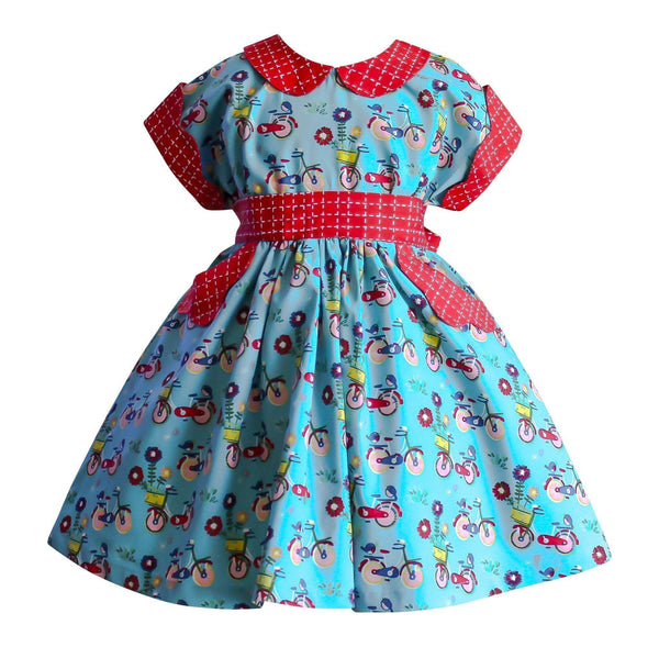 Girls Dress - Joy Ride Vintage Bicycle Polk Street Dress