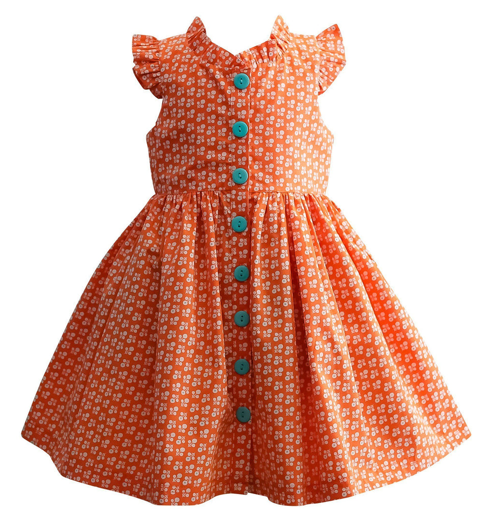 Girls Dress - LillyBelle Orange Pop Glen Park Dress