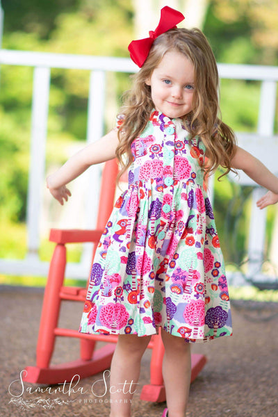 Girls Dress - Little Red Riding Hood Glen Park Dress - Red Buttons