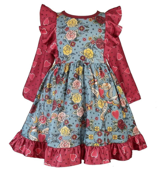 Love You Tattoo Dilly Dress - Little Miss Marmalade