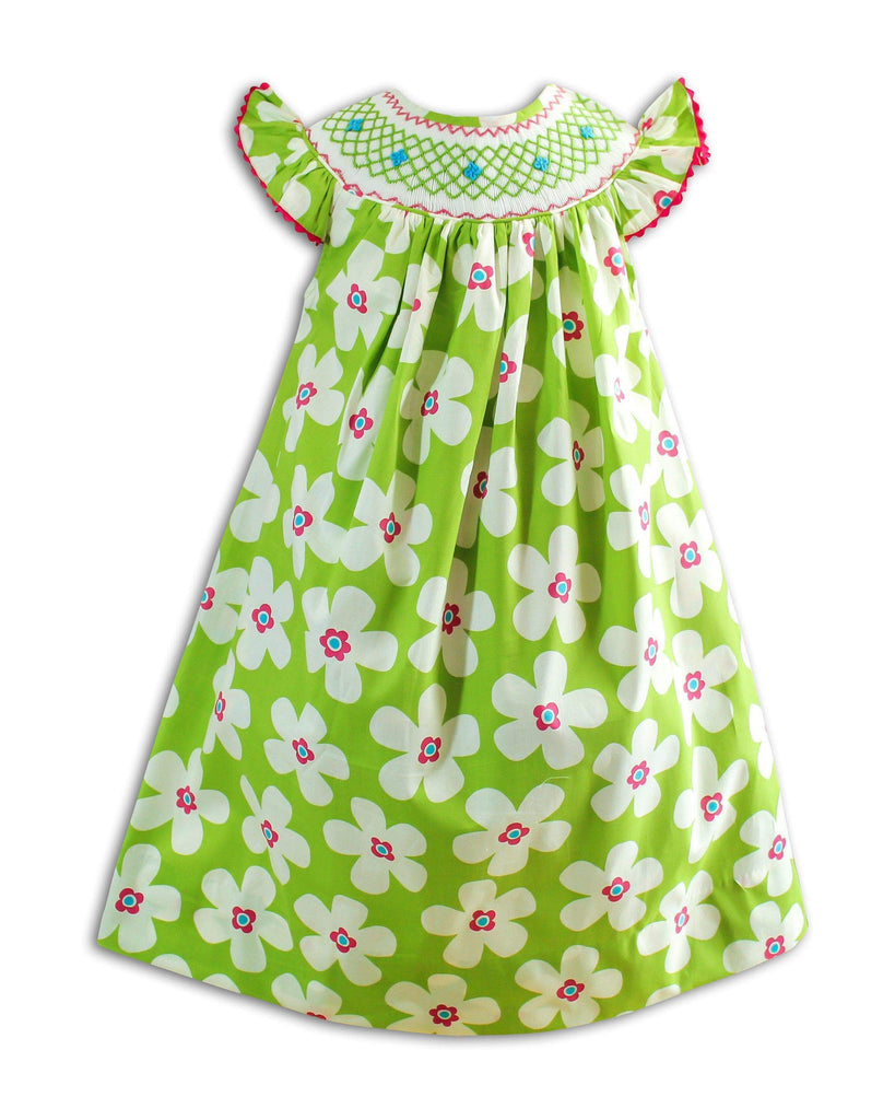Spring Flower Smocked Dress - Little Miss Marmalade