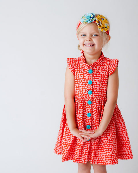 Girls Dress - Tea & Kitties Red Glen Park Dress