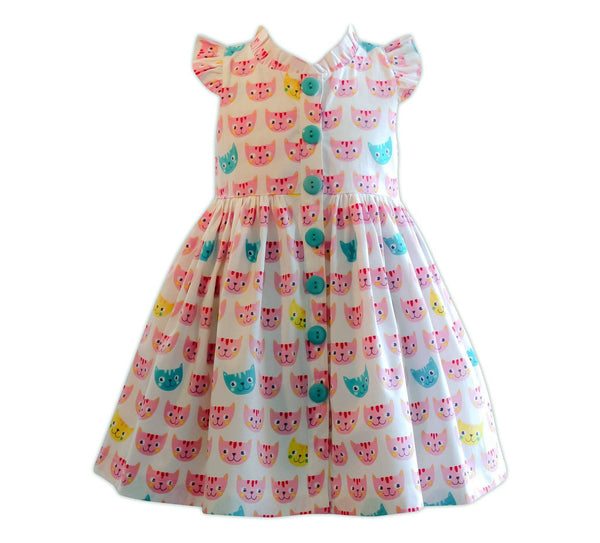 Tea & Kitties Vintage Glen Park Dress Smitten Kitten - Little Miss Marmalade