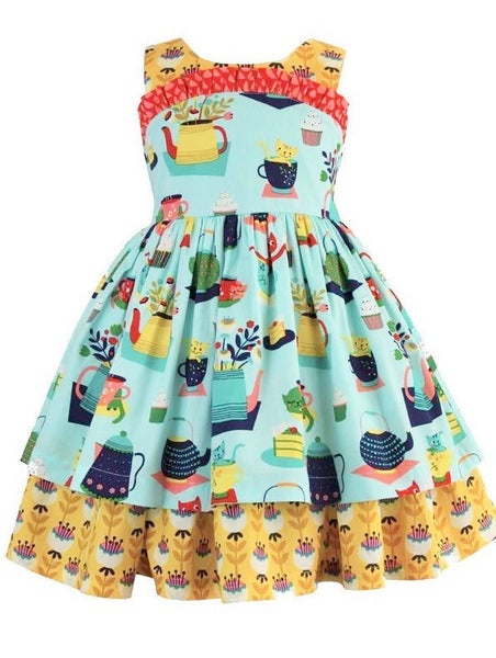 Girls Dress - Tea & Kitties Wilder Dress