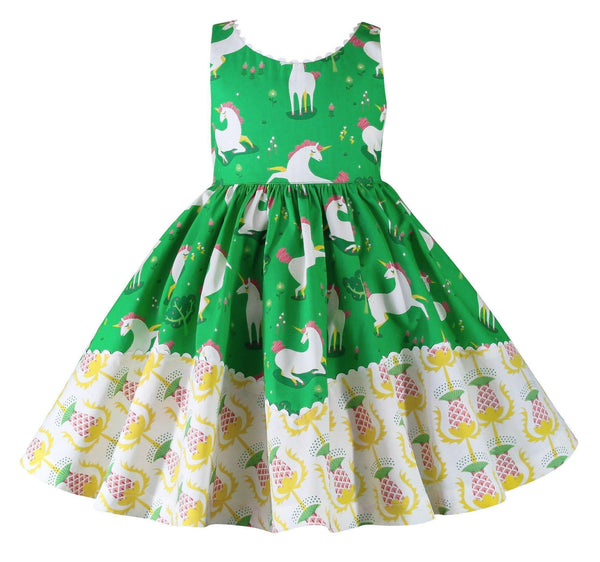 Girls Dress - Unicornland Green Dolores Park Dress