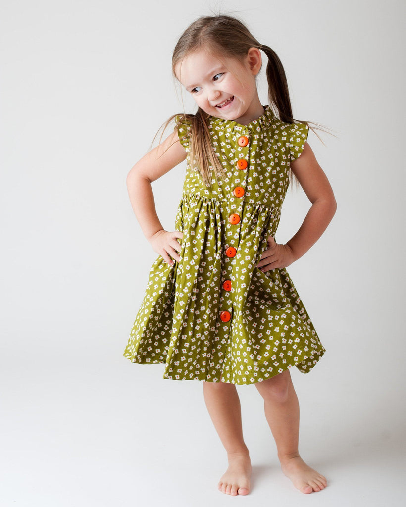Girls Dress - Wishful Glen Park Vintage Green Floral Dress
