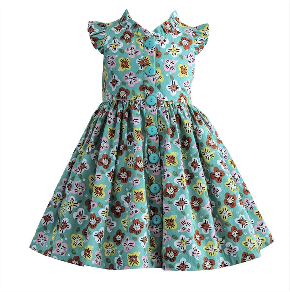 Girls Dress - Wishful Teal Floral Glen Park Vintage