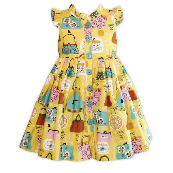 Girls Dress - Wishful Yellow Vintage Inspired Glen Park Dress