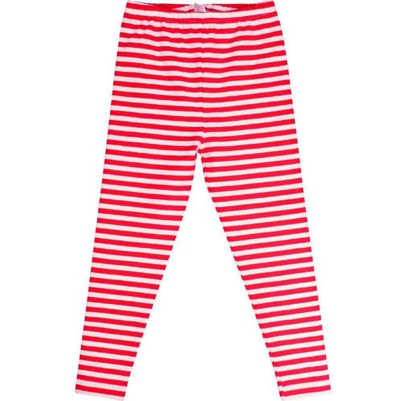 Girls Leggings - Be Merry Red Striped Leggings