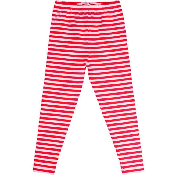 Girls Leggings - Joy Holiday 2017 Candy Cane Striped Leggings