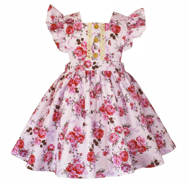 Nana's Vintage Lilac Rose Pinafore Dress - Little Miss Marmalade