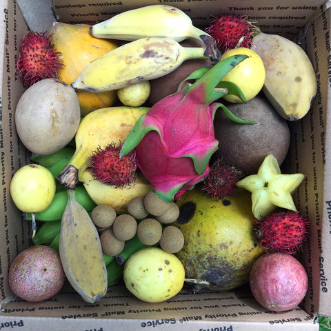 variety box of tropical exotic fruit
