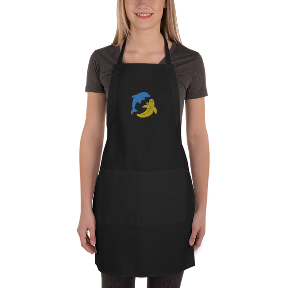 Miami Fruit Dolphin Banana Embroidered Apron