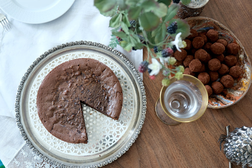 Thanksgiving dessert - chocolate cake and truffles