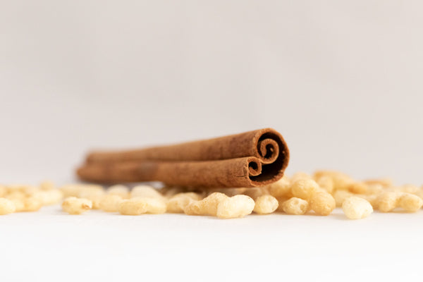 Milk chocolate, puffed rice and cinnamon