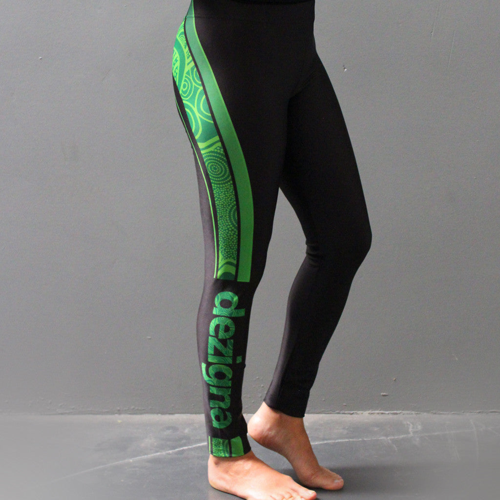 "Leggings - Adult Full Length - ""Green"" - Dezigna Range - Dezigna"