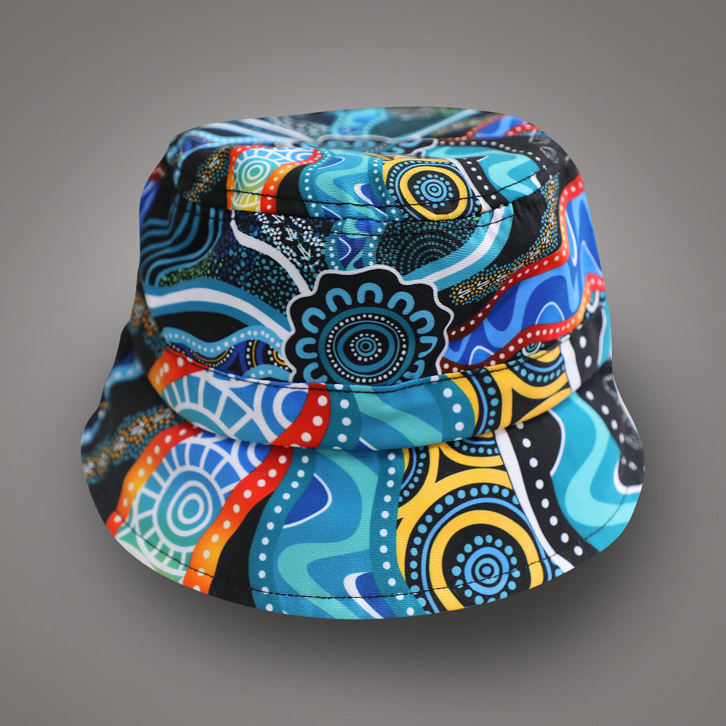 Bucket Hat - Kids - Elaine Chambers Range 'Our Journey' Deep Sea Blue - Dezigna