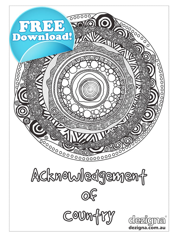 FREE DOWNLOAD - Acknowledgement of Country - A4 Colouring Sheet