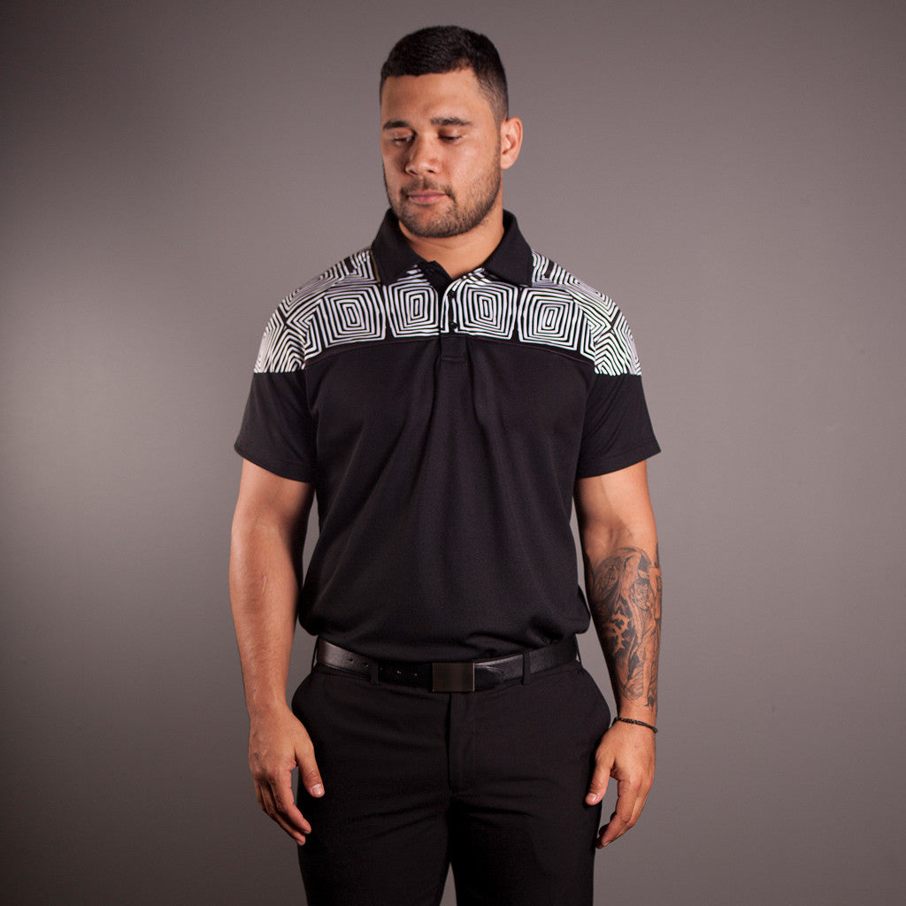 Polo Shirt - Elaine Chambers Range 'Community Growth - Black & White' - Dezigna