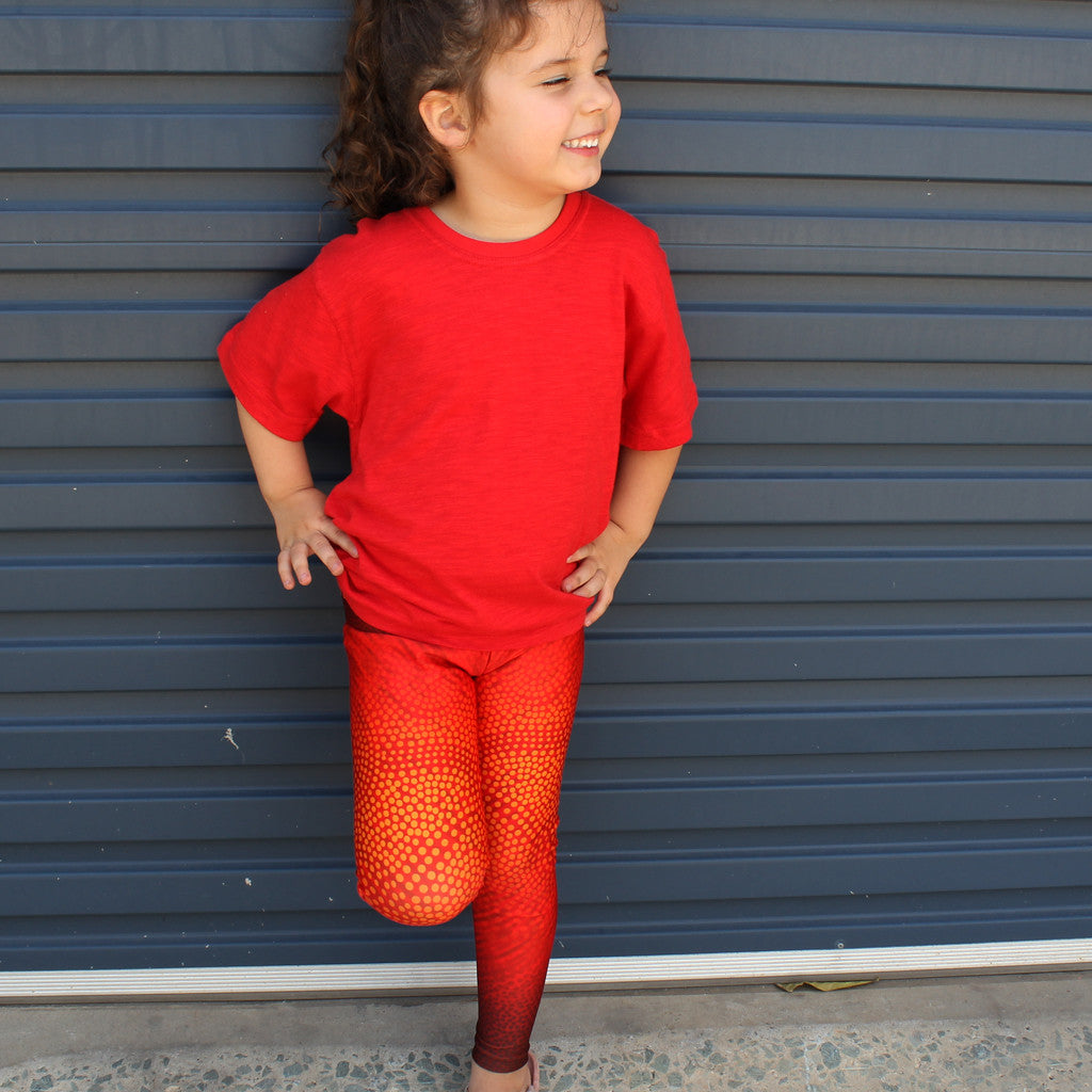 Leggings - Kids Full Length - 'Earth/Wind/Fire Red' - Elaine Chambers Range - Dezigna