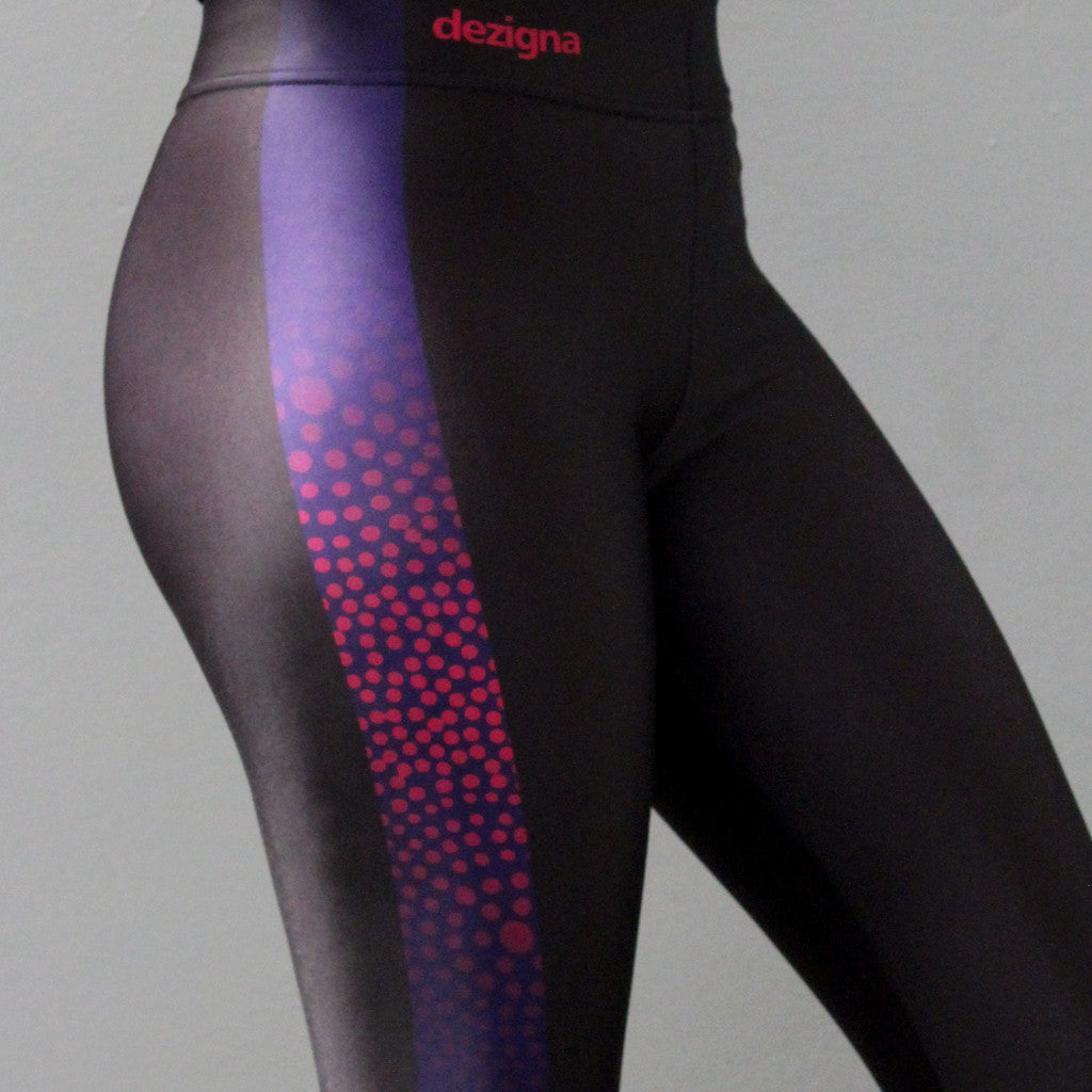 "Leggings - Adult 3/4 Length - ""Black with Midnight Embers Stripe"" - Elaine Chambers Range - Dezigna"