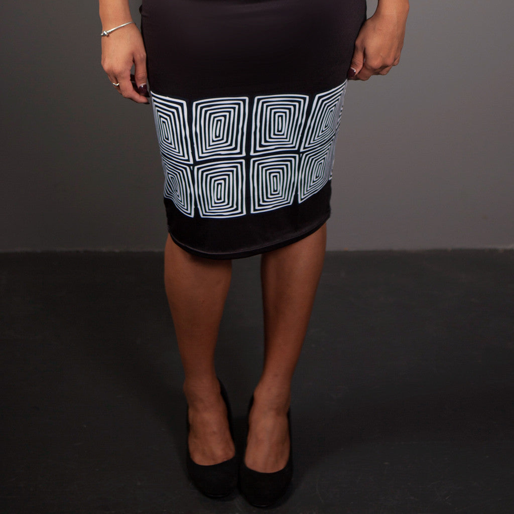 Skirt - Elaine Chambers Range 'Community Growth - Black & White' - Dezigna