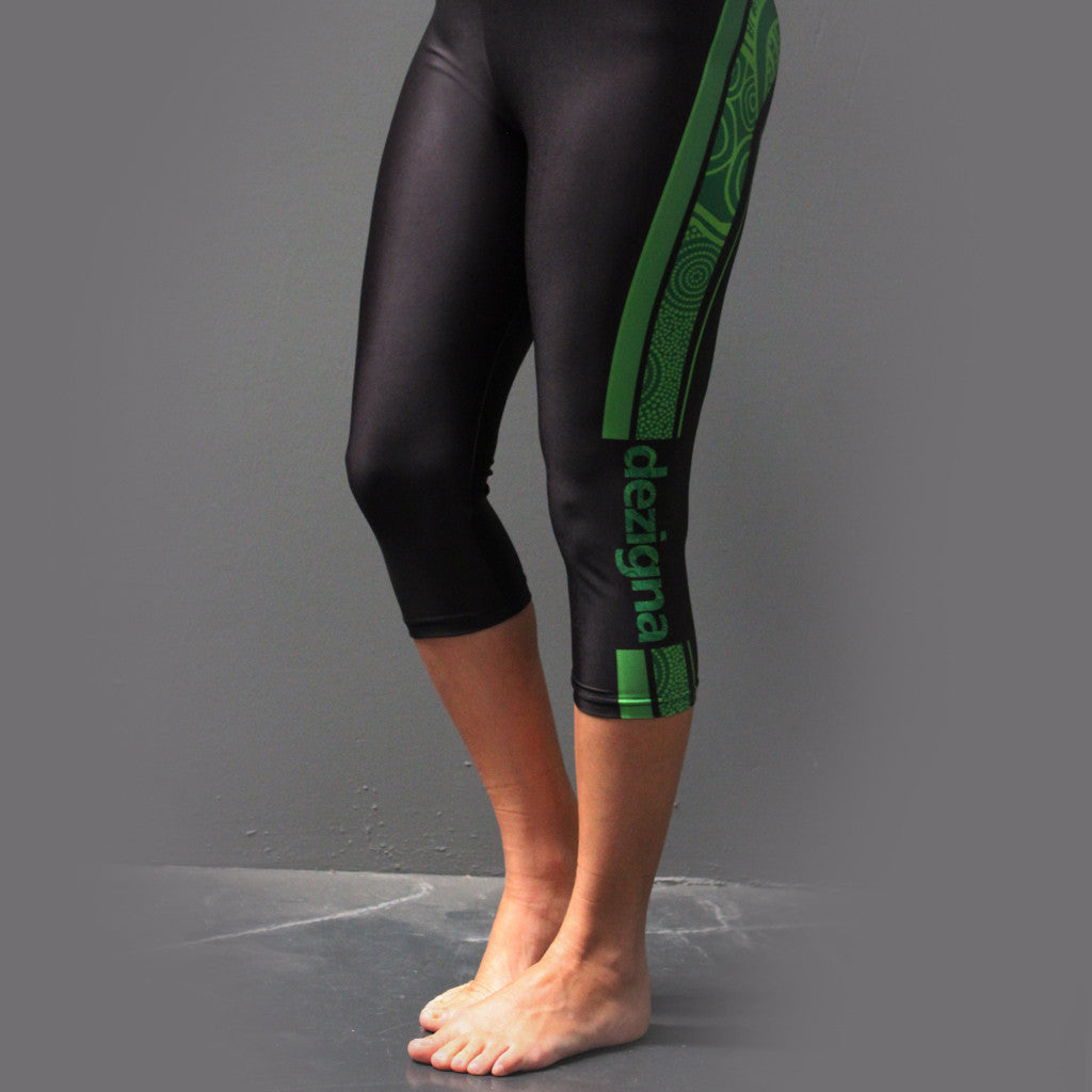 "Leggings - Adult 3/4 Length - ""Green"" - Dezigna Range - Dezigna"