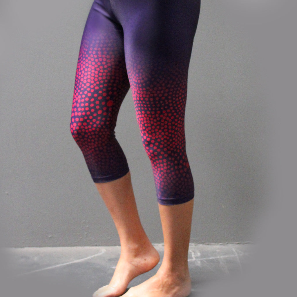 "Leggings - Adult 3/4 Length - ""Midnight Embers Purple"" - Elaine Chambers Range - Dezigna"