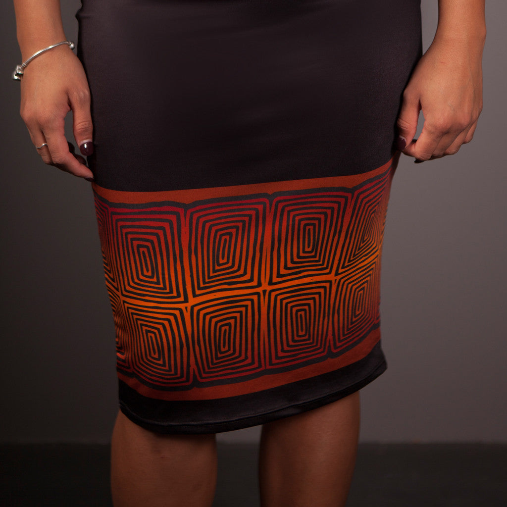 Skirt - Elaine Chambers Range 'Community Growth - Spirit of the Sun' - Dezigna