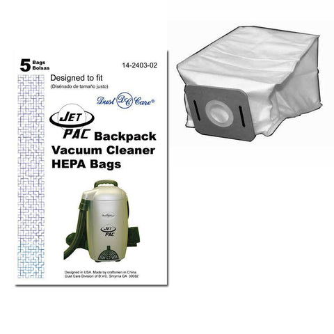 Dust Care Vacuum Bag, Cloth HEPA Jet Pac