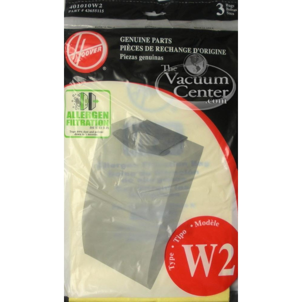 Package of 3 Genuine Hoover Type W2 Allergen Bags - TheVacuumCenter.com