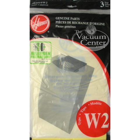 Package of 3 Genuine Hoover Type W2 Allergen Bags