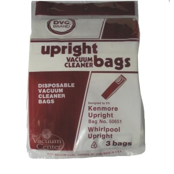 Package of 3 Replacement Kenmore Bags for Upright Model 50651    Manufacturer Part No.: 424412 - TheVacuumCenter.com
