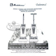 Genuine Koblenz Owner's Manual for Machines with Solution Tank - TheVacuumCenter.com