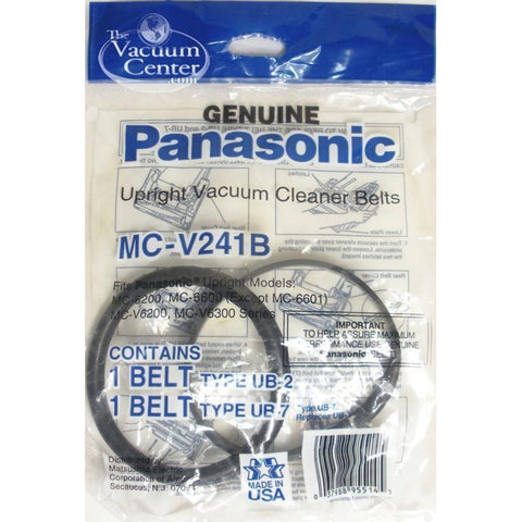 Package of 2 Genuine Panasonic UB2/UB3/UB7 Belts 1 Flat, 1 Round