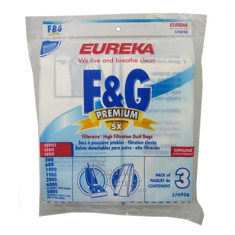 Package of 3 Genuine Eureka Style F + G Filteraire Bags