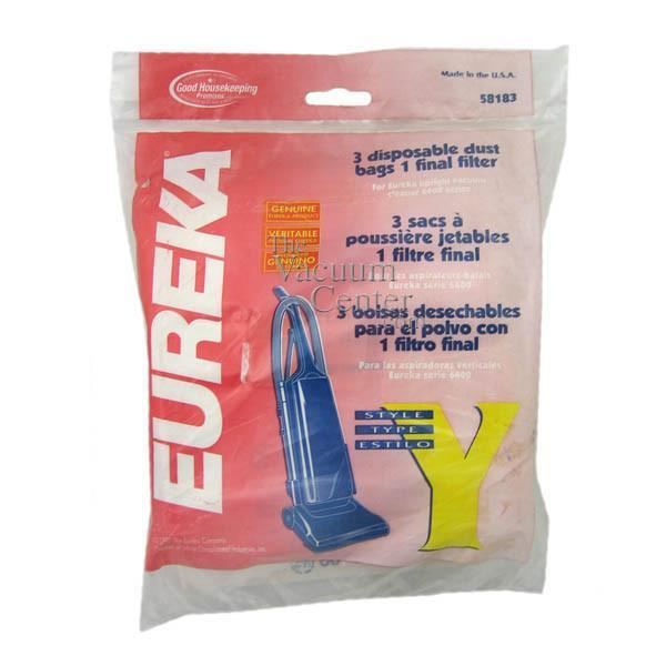 Package of 3 Genuine Eureka Style Y Bags for Upright Excalibur   Manufacturer Part No.: 58183A-6