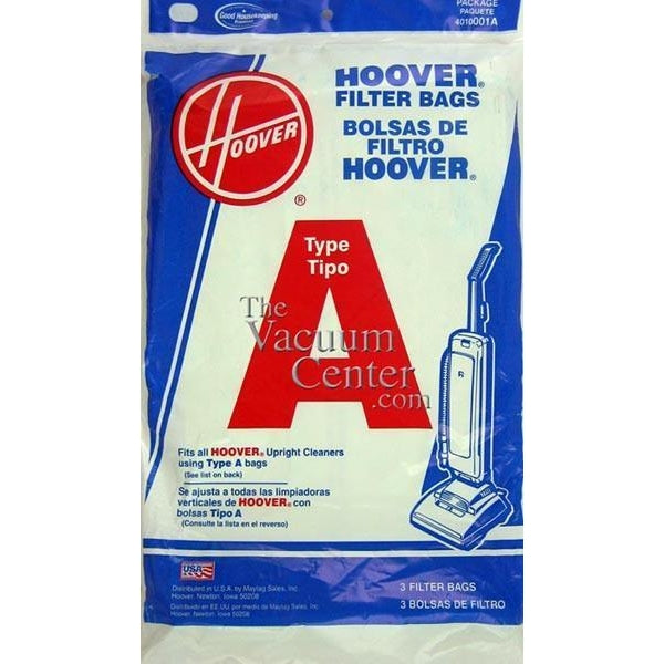 Package of 3 Genuine Hoover Type A Bags - TheVacuumCenter.com
