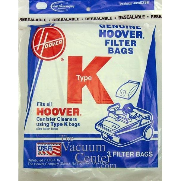 Package of 3 Genuine Hoover Type K Bags