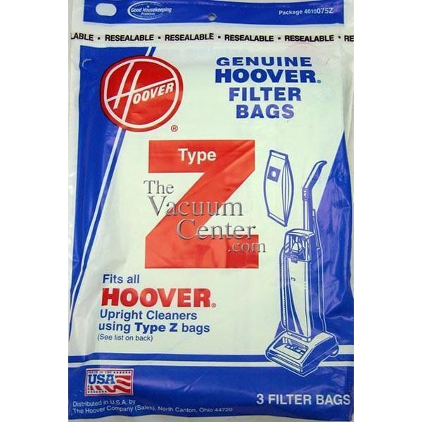 Package of 3 Genuine Hoover Type Z Bags
