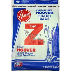 Package of 3 Genuine Hoover Type Z Bags - TheVacuumCenter.com