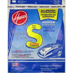 Package of 3 Genuine Hoover Type S Allergen Bags - TheVacuumCenter.com