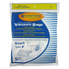 Replacement Bosch Premium Canister Type P Bags - TheVacuumCenter.com