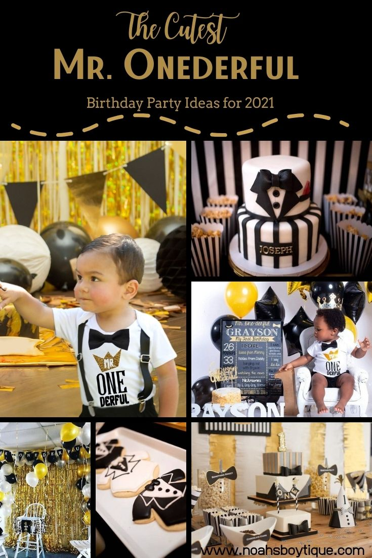 mr onederful first birthday party outfit ideas and decorations one-derful cake and supplies theme ideas gold and black