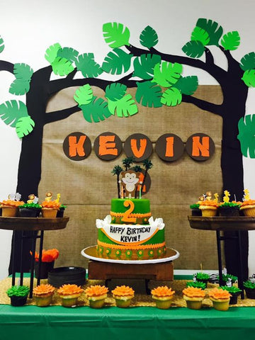 jungle party decoration ideas dessert table backdrop first birthday safari zoo